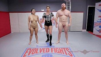 Porn video: Tattoo babe Nikki Sequoia mixed naked wrestle fight vs ...